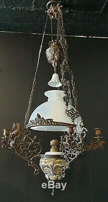 Lustre Napoleon III bronze à pétrole, motifs anges & chevaux, hauteur réglable