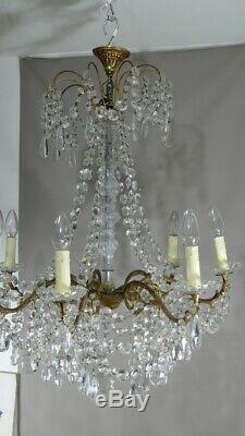 Lustre Style Napoléon III En Bronze Et Pampilles Cristal Et Verre, époque Début
