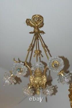 Lustre à 7 lumières en bronze doré et cristal d'époque Napoléon III vers 1875, n
