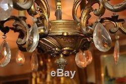 Lustre ancien 19 ème siècle en bronze et pampilles, 6 branches