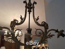Lustre ancien en bronze décor tête de bélier époque Napoléon III