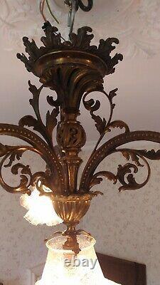 Lustre bronze ancien, 4 tulipes, restauré