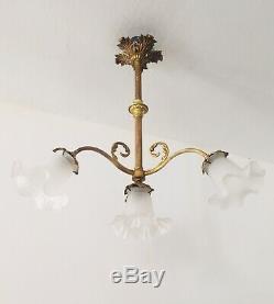 Lustre/chandelier Art Nouveau Napoléon III, 4 Lum Bronze véritable (France)