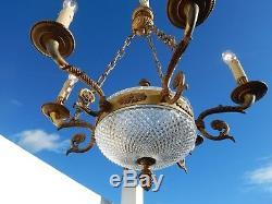 Lustre de style Empire en verre bronze laiton 6 feux