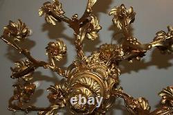 Lustre en Bronze XIX ÈME Doré de Style Louis XV Rocaille a 16 Feux