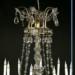 Lustre style louis XVI en bronze doré à pampilles, XIXe