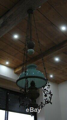 Lustre suspension bronze et laiton Opaline Verte Lampe à pétrole