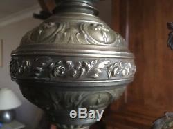 Lustre suspension bronze et laiton Opaline Verte Lampe à pétrole électrifiée