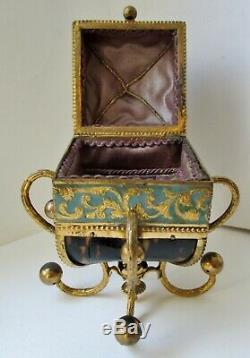 Luxueux Flacon Parfum Cristal Bronze Doré, écrin écaille forme de couronne XIXe