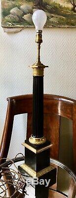 Magnifique Grand Pied lampe tôle et bronze Colonne EMPIRE Ep Napoléon III XIXe
