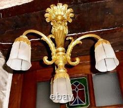 Magnifique LUSTRE ancien bronze doré XIXème siècle 4 lumières