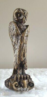 Magnifique SCEAU A CACHETER EN BRONZE Chouette ANTIQUE SEAL XIX siecle Owl