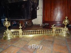 Magnifique barre de foyer de cheminée réglable bronze XIXéme