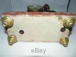 Magnifique garniture de cheminée, pendule La Petite Jardinière + 2 cassolettes