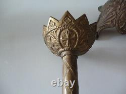 Magnifique paire de pique cierge d eglise laiton bronze xix ems avec ornements