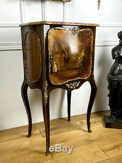 Meuble D Appui Napoleon III / Vernis Martin / Dessus Marbre Orné De Bronze Doré