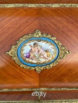 Meuble Secretaire Cylindre Napoleon III XIX Eme Avec Plaque Sevres Bronze L363