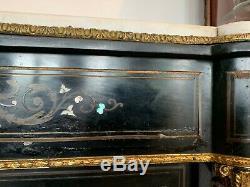 Meuble a hauteur d'appui Marqueterie de nacre et laiton gravé Napoléon III XIX