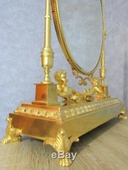 Miroir Bronze Doré, Pendule en bronze, Empire, clock Napoléon III