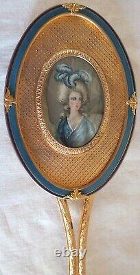 Miroir Face a Main Bronze Dore Email Miniature Giroux