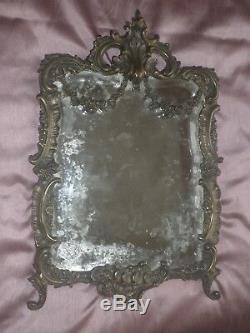 Miroir Psyché Bronze Napoléon III style Rocaille verre biseauté Grand modèle
