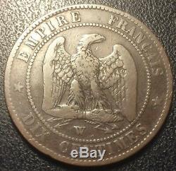 Napoléon III 10 centimes 1855 W satirique magnifique tête de prussien