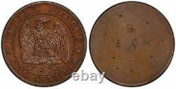Napoléon III Essai revers 5 centimes uniface 1861 E PCGS SP 64 BN -Rarissime