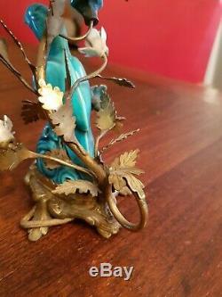 Napoléon III, ancien bougeoir décor oiseau, fleurs porcelaine, monture bronze