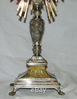 OSTENSOIR MONSTRANCE BRONZE ARGENTE reliquaire 19ème siecle antique reliquary