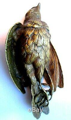 Objet de bureau Napoléon III, Presse-papier bronze doré, Oiseau mort