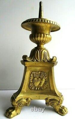 Objet religieux Napoléon III, pique-cierge bronze doré, acanthes, Marie, Joseph