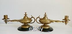 PAIRE BOUGEOIRS DE PIANO en forme de lampe à huile bronze Napoléon III Empire
