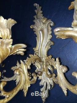 PAIRE D'APPLIQUES ANCIENNES EN BRONZE DE STYLE ROCAILLE XIXème