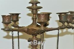 PAIRE GRANDS CANDELABRES BRONZE NAPOLEON III BARBEDIENNE patine médaille FAUNES