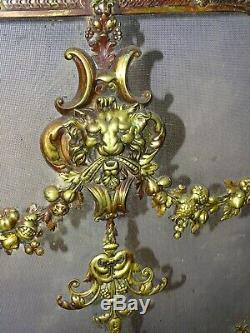 PARE-FEU ECRAN DE CHEMINÉE ancien bronze Old himney fire screen antiquity 75x81