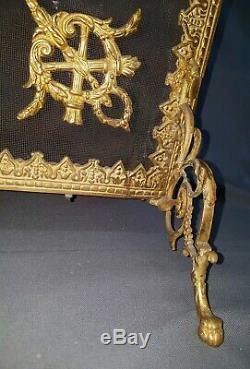 PARE FEU LOUIS XVI BRONZE LAITON CARQUOIS EPOQUE NAPOLEON III FIN XIXème L 71 cm