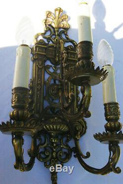 Paire 2 belles Appliques Bronze 3 Feux 19ème Napoléon III