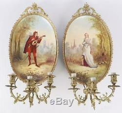Paire Appliques Bronze Doré Et Porcelaine A Trois Bras De Lumiere Napoleon III