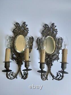 Paire Appliques Napoleon III Decor Ange Amour En Bronze Miroir Biseaute G2091