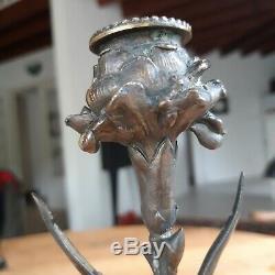Paire Bougeoire Napoleon III Bronze Signé XIX