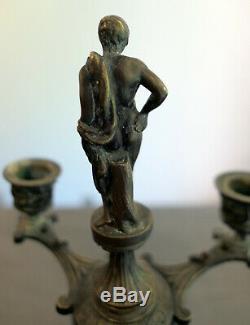 Paire Bougeoirs Bronze Chandelier Candélabre Époque Napoléon III Candlestick