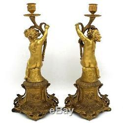 Paire Chandelier Candelabre Bougeoir époque Napoleon III Bronze Porcelaine 19ème
