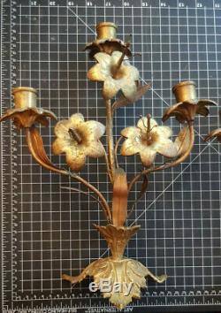 Paire Chandeliers Napoleon III Eglise Bougeoir Fleur Lys Bronze Candelabre XIXe