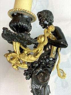 Paire D Appliques Epoque Napoleon III En Bronze Doré Et Noir A Decor De Faunes