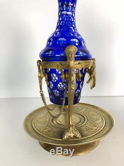 Paire D'aiguières D'époque Napoléon III En Cristal Montée Sur Bronze Doré
