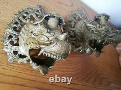 Paire De Bougeoir bronze Napoléon III Style Gothic Dragon