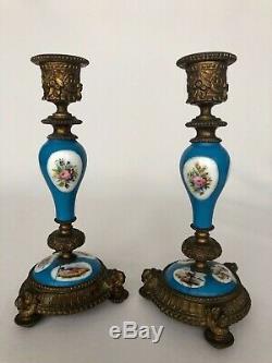 Paire De Bougeoirs Bronze Epoque Napoleon III Porcelaine De Paris 19eme C2005