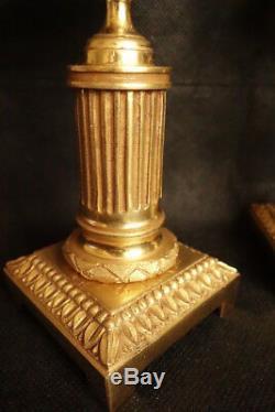 Paire De Bougeoirs Cassolettes, Aux Béliers, Époque Napoléon III Bronze