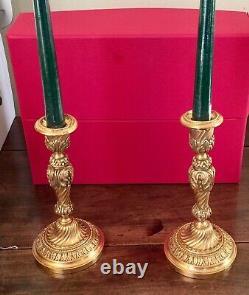 Paire De Bougeoirs En Bronze doré Style Louis XV Epoque Napoleon lll