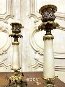 Paire De Bougeoirs En Marbre Et Bronze. Époque Napoléon III